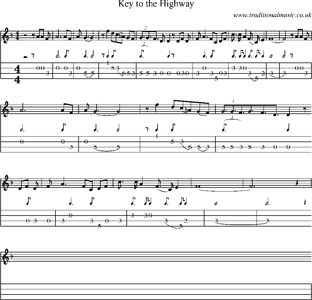 Mandolin tab and sheet music for songkey to the highway mandolin tab and sheet music for key to the highway hexwebz Image collections