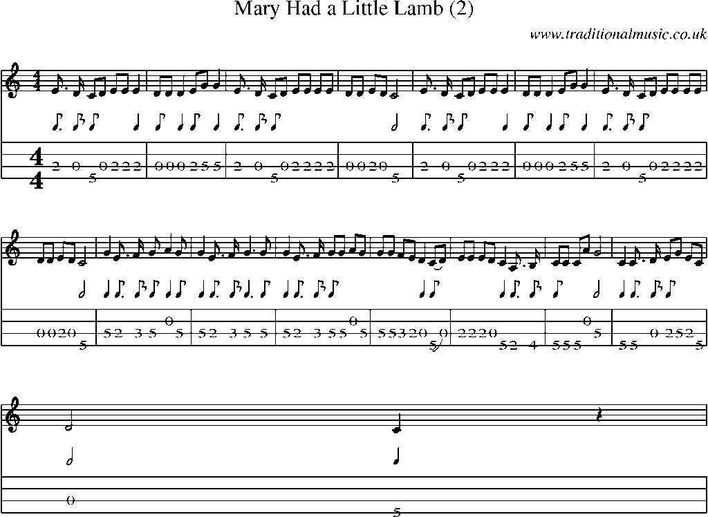 Mandolin Tab And Sheet Music For Songmary Had A Little Lamb 2