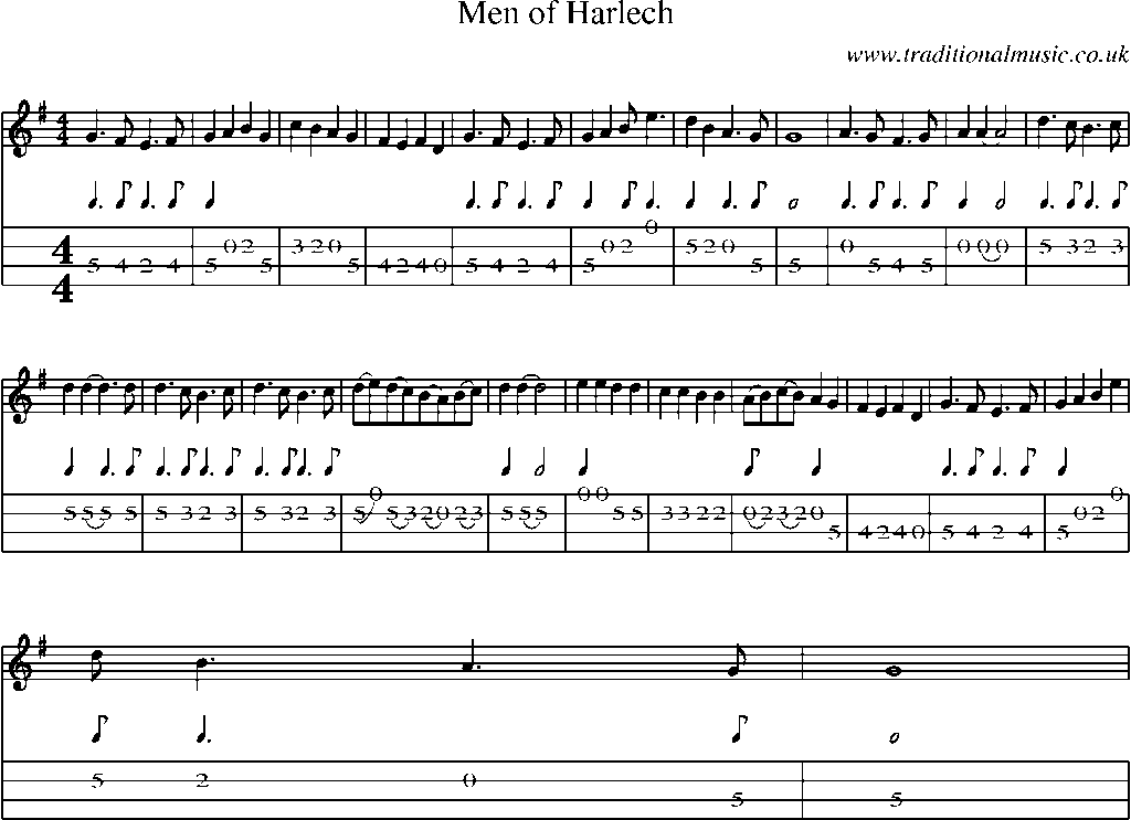 Mandolin Tab And Sheet Music For Song:Men Of Harlech