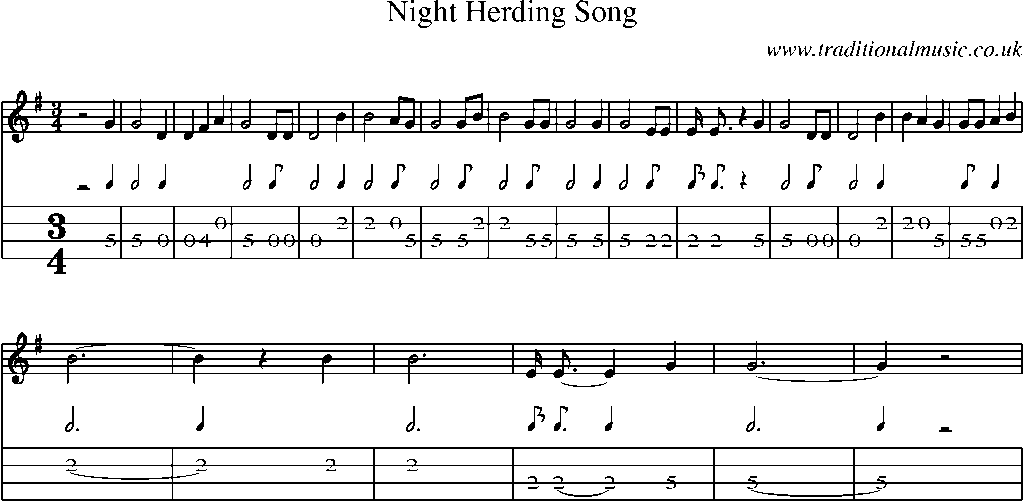 Mandolin Tab and Sheet Music for song:Night Herding Song