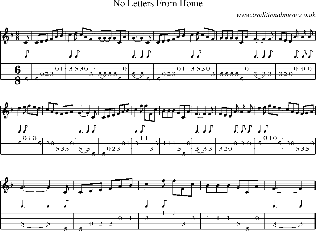 ... old songs - Sheet Music and Mandolin Tab, song:No Letters From Home