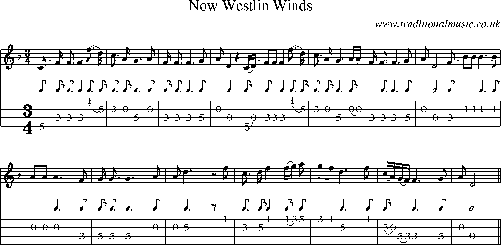 Mandolin Tab and Sheet Music for song:Now Westlin Winds