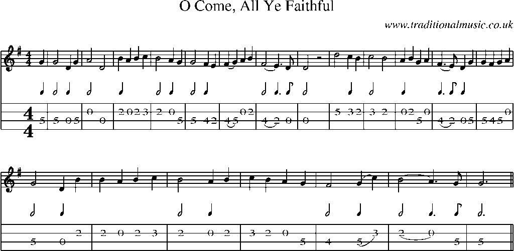 Mandolin Tab and Sheet Music for song:O Come, All Ye Faithful