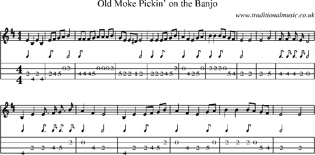 Mandolin Tab and Sheet Music for song:Old Moke Pickinu0026#39; On The Banjo