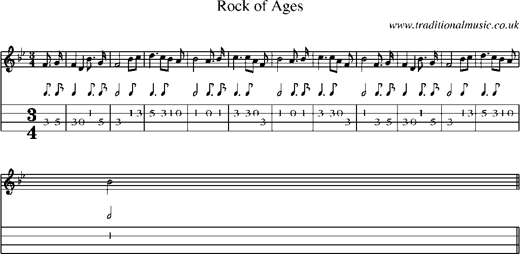 Mandolin Tab and Sheet Music for song:Rock Of Ages