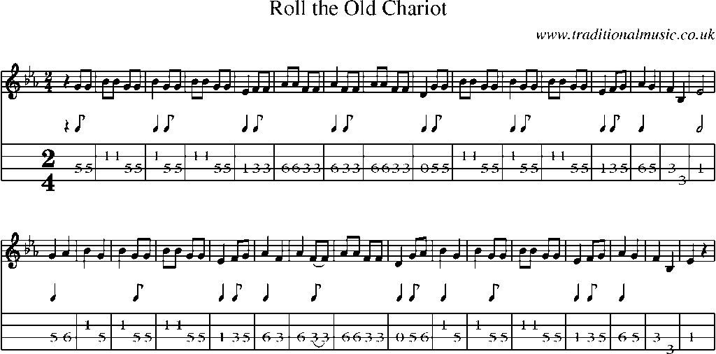 Mandolin Tab And Sheet Music For Songroll The Old Chariot