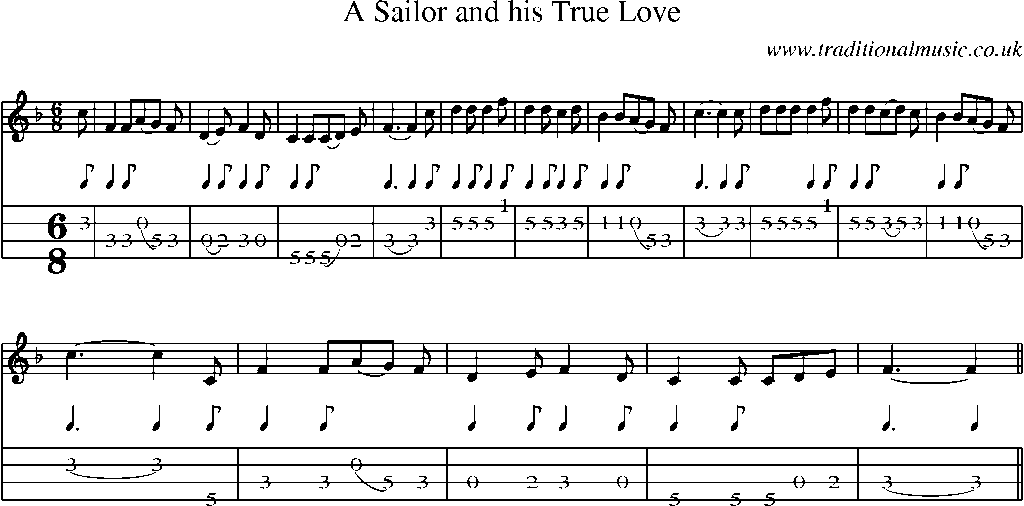 Mandolin Tab and Sheet Music for song:A Sailor And His True Love
