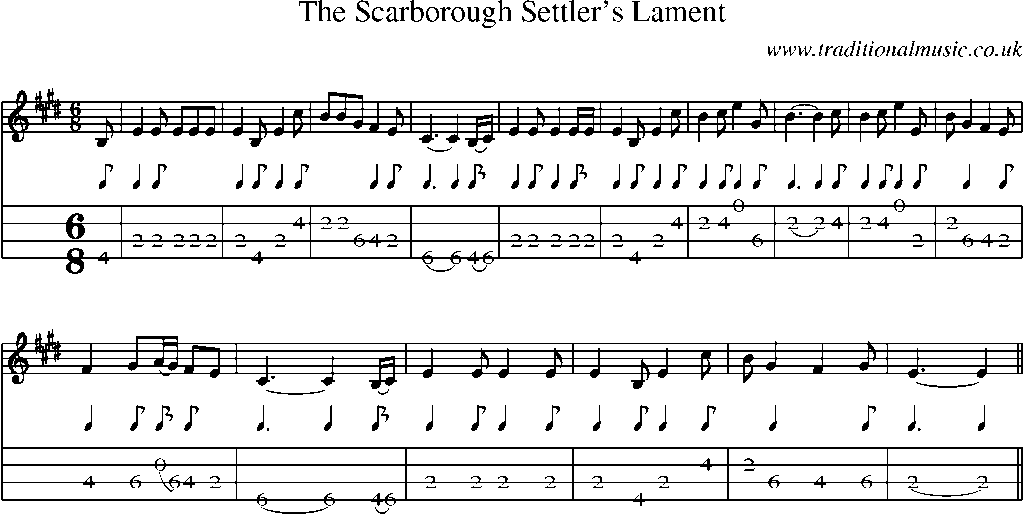 Mandolin Tab and Sheet Music for song:The Scarborough Settleru0026#39;s Lament