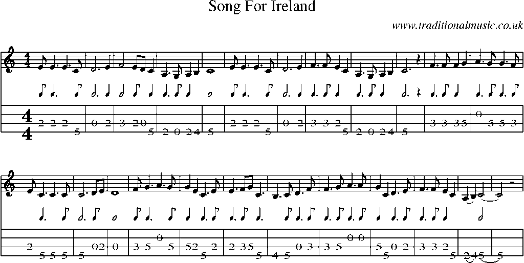 Song song sheet music : Mandolin Tab and Sheet Music for song:Song For Ireland