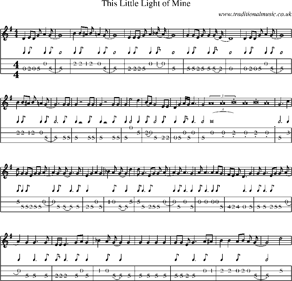 Mandolin Tab And Sheet Music For This Little Light Of Mine