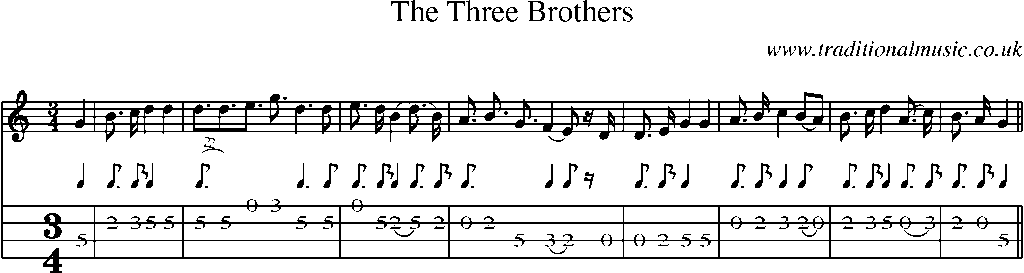 Mandolin Tab and Sheet Music for song:The Three Brothers