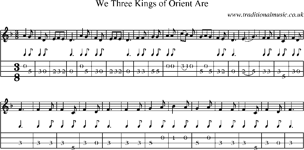 Mandolin Tab And Sheet Music For Songwe Three Kings Of Orient Are