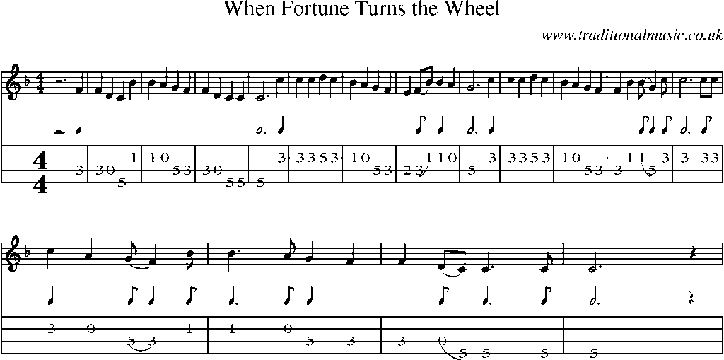 Mandolin Tab and Sheet Music for song:When Fortune Turns The Wheel