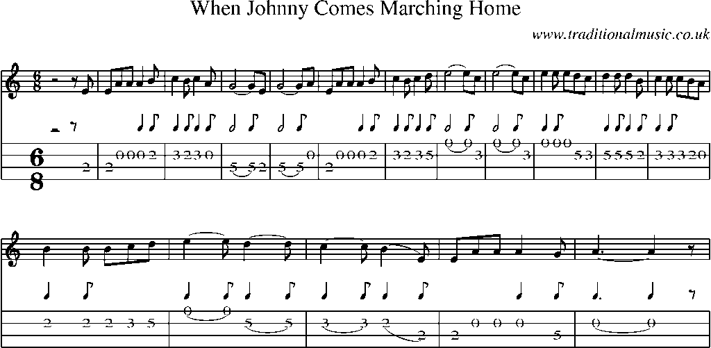 Mandolin Tab and Sheet Music for song:When Johnny Comes Marching Home