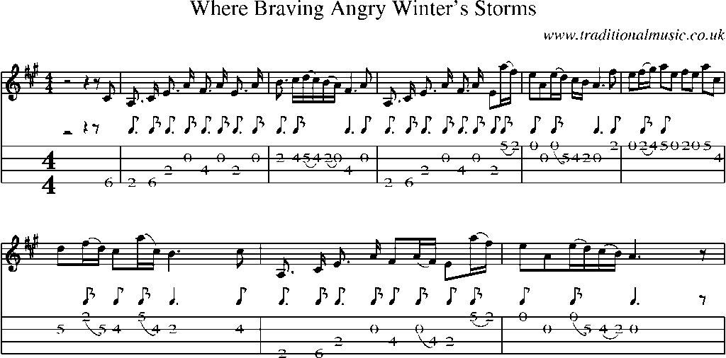 Mandolin Tab and Sheet Music for song:Where Braving Angry Winteru0026#39;s Storms
