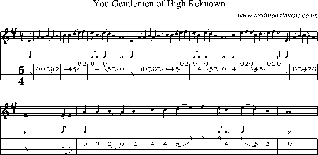 Mandolin Tab and Sheet Music for song:You Gentlemen Of High Reknown