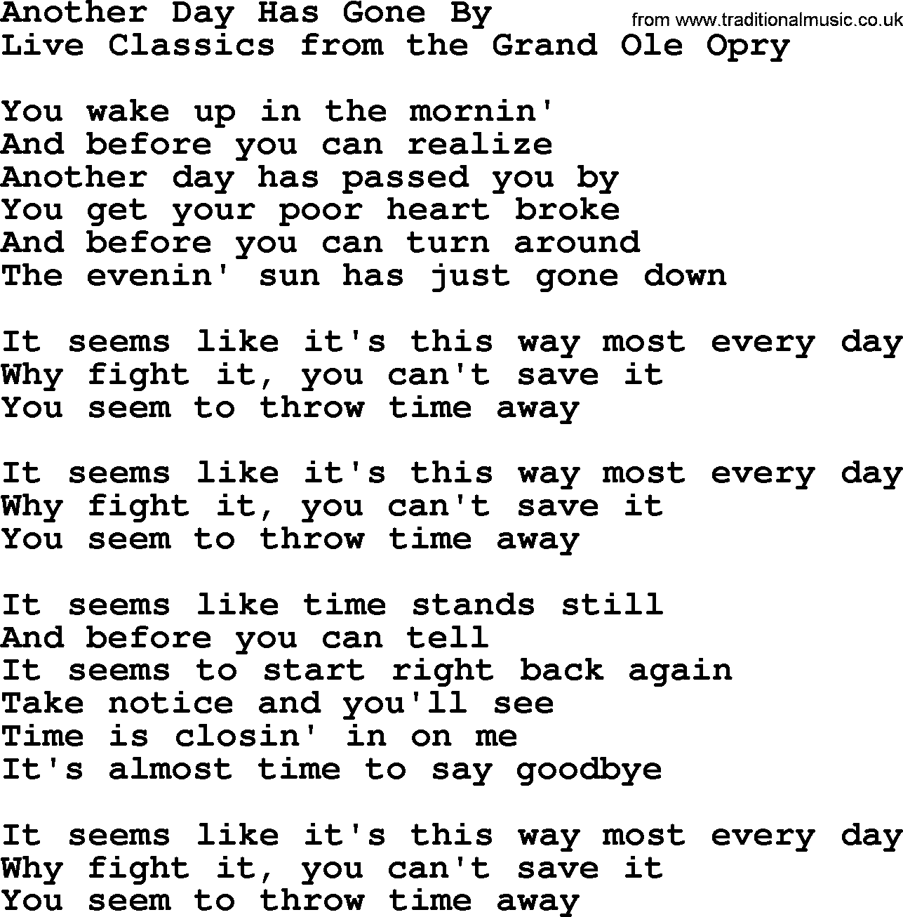 Another Day Gone Lyrics