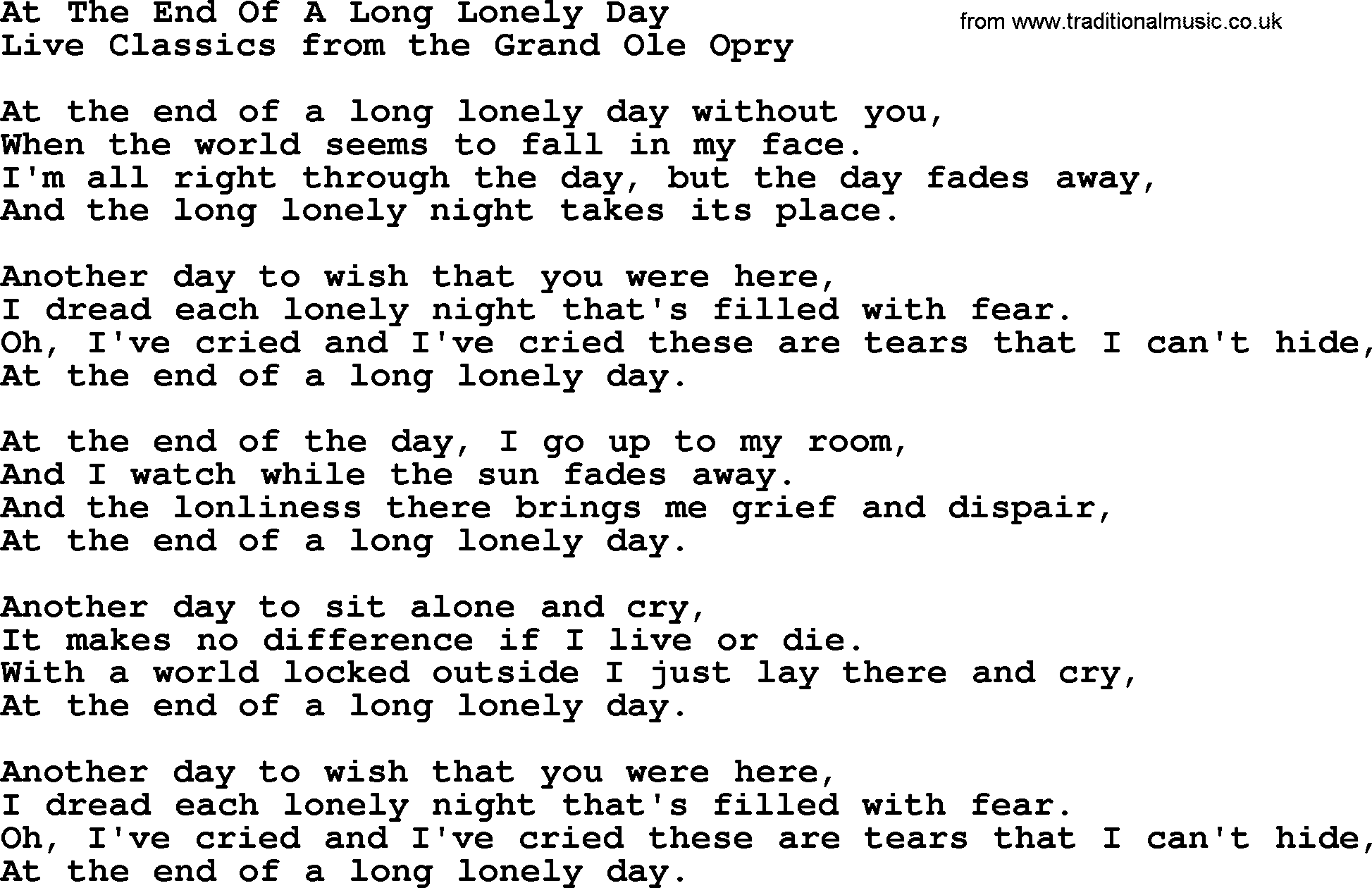 At The End Of A Long Lonely Day, by Marty Robbins - lyrics