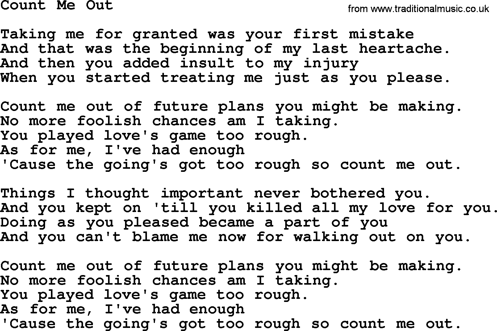 Count Me Out By Marty Robbins Lyrics