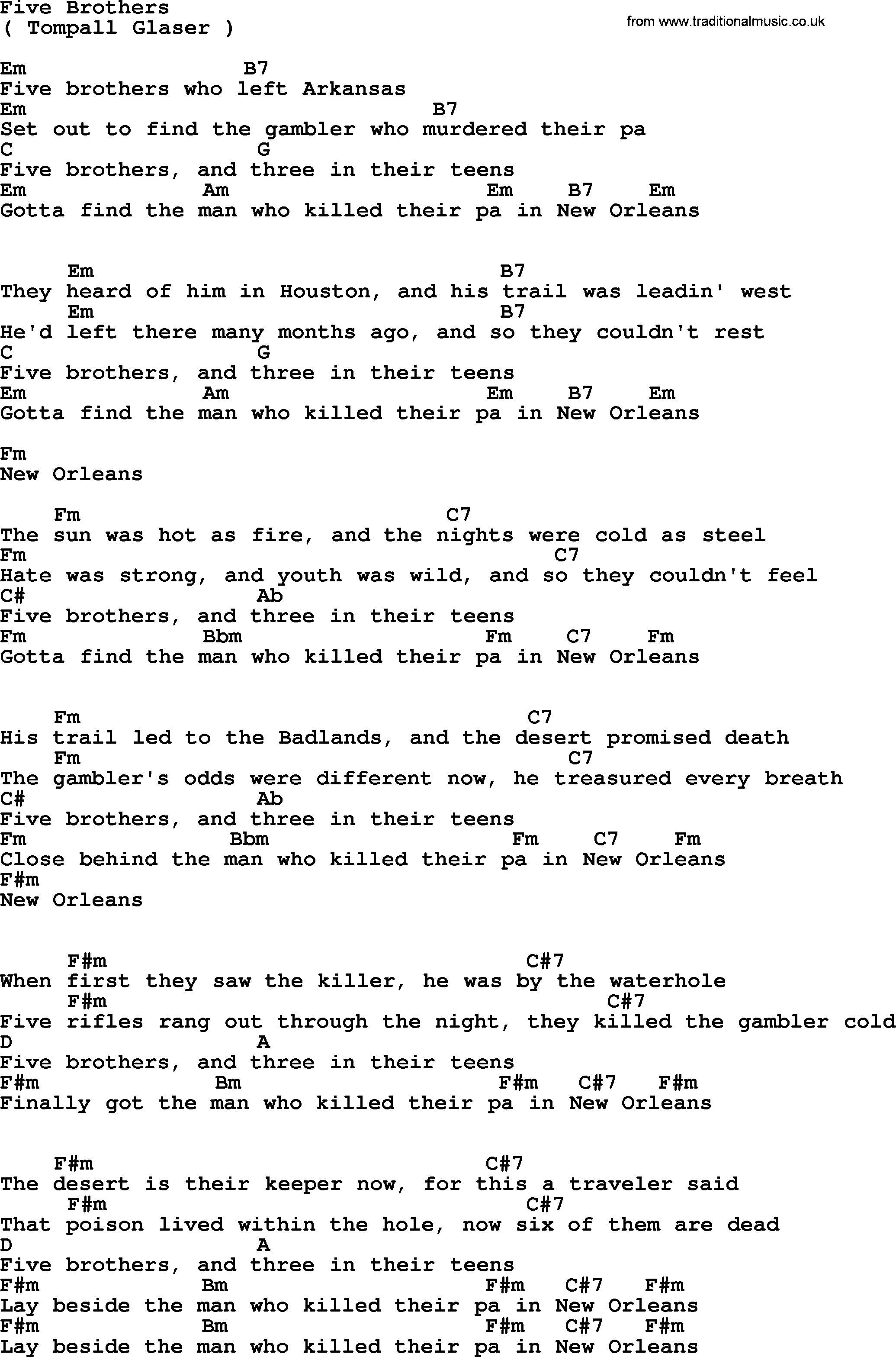 Five Brothers By Marty Robbins Lyrics And Chords