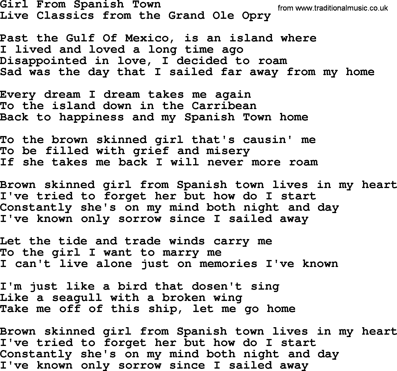 Girl From Spanish Town, by Marty Robbins - lyrics