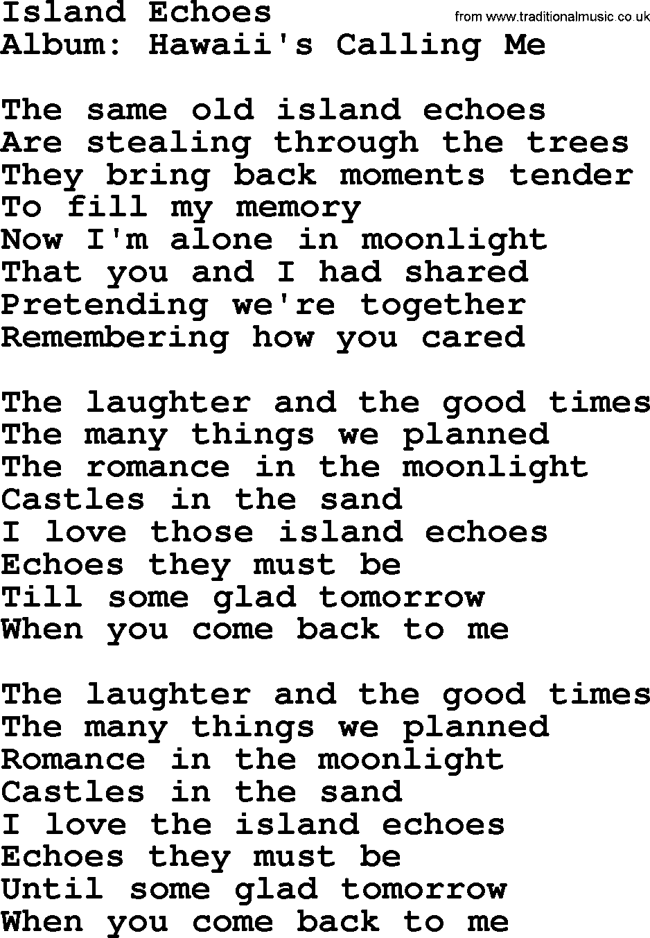 Island echoes by marty robbins lyrics marty robbins song island echoes lyrics hexwebz Images