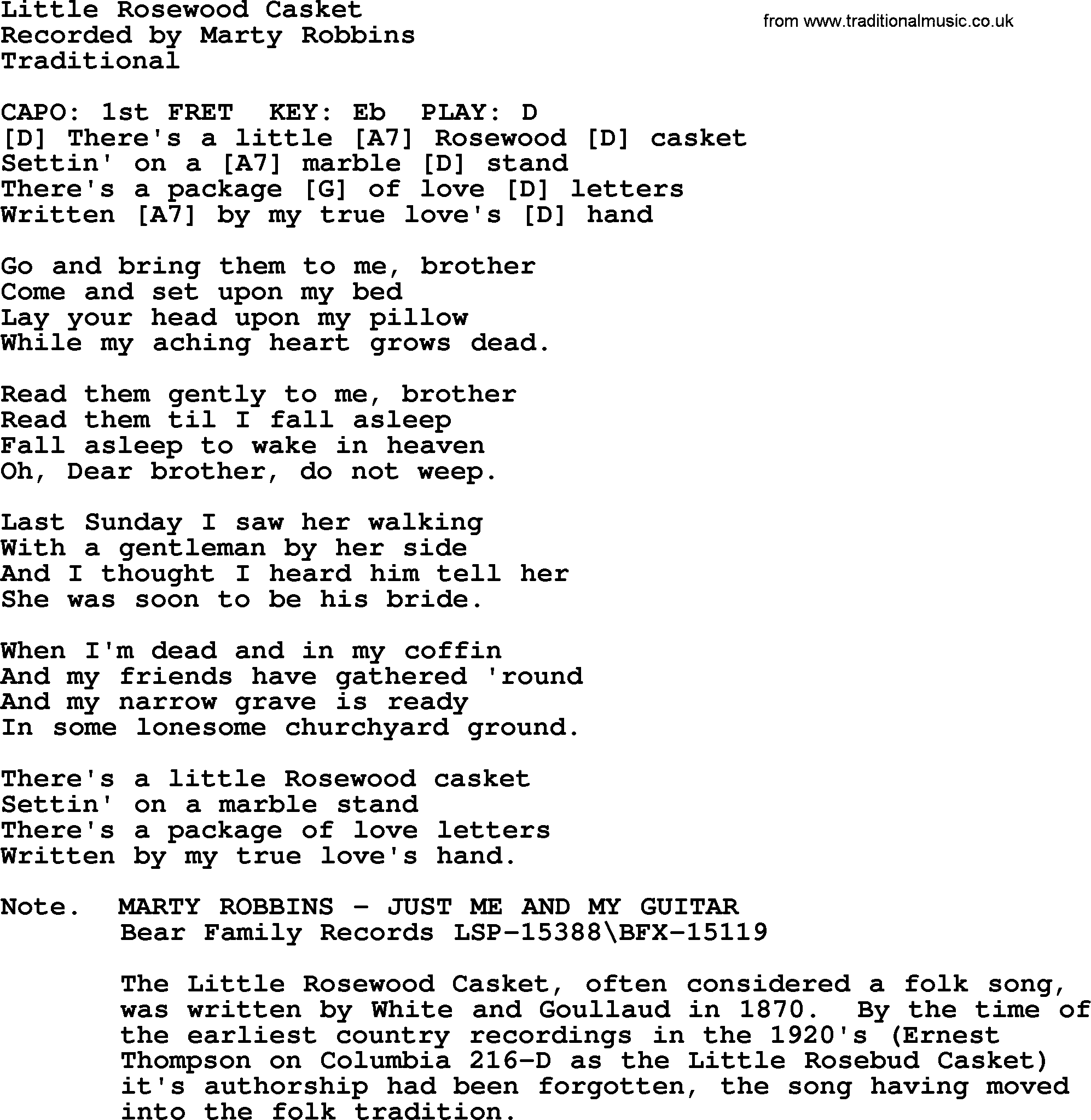 Little Rosewood Casket, by Marty Robbins   lyrics and chords
