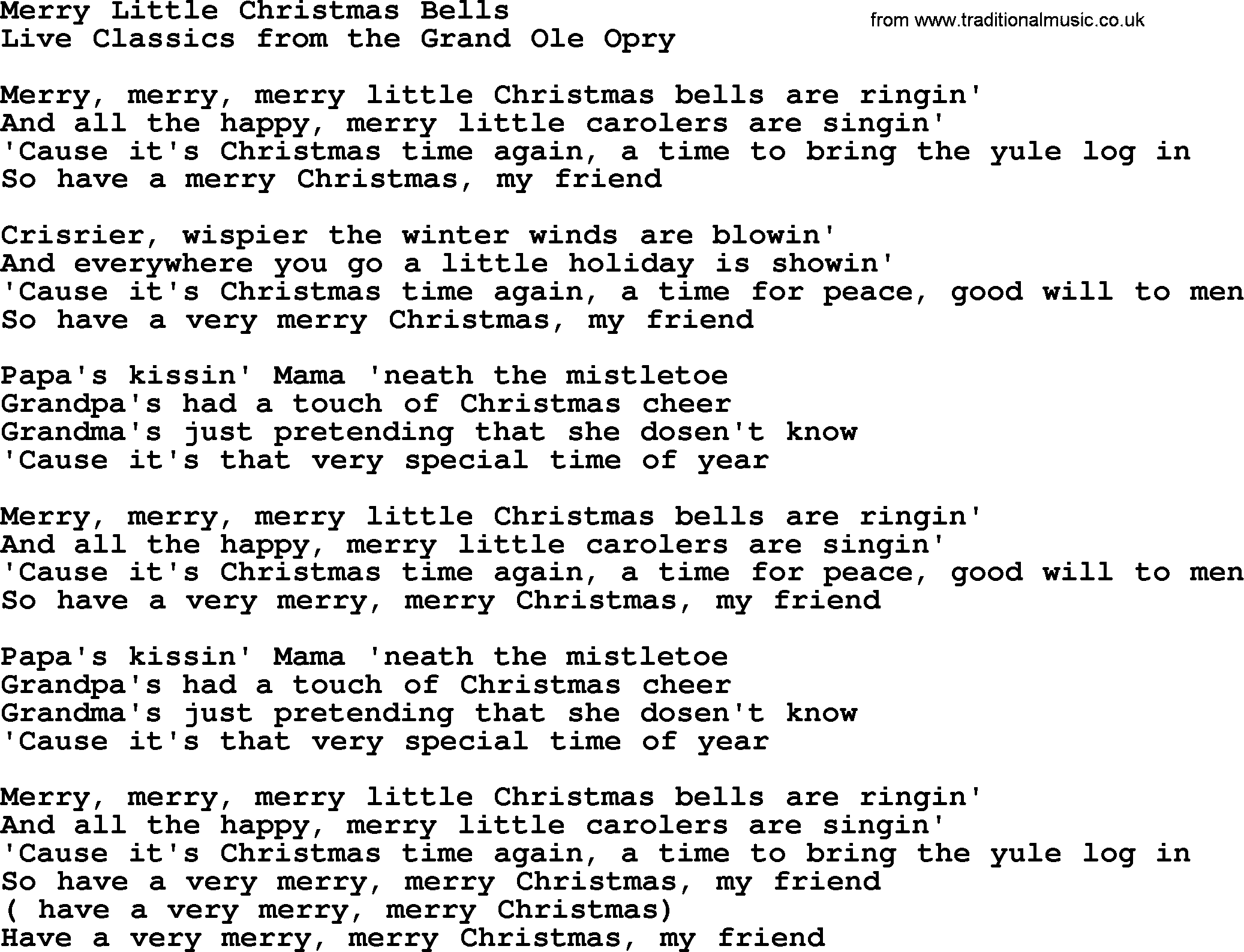 Merry Little Christmas Lyrics.Merry Little Christmas Bells By Marty Robbins Lyrics