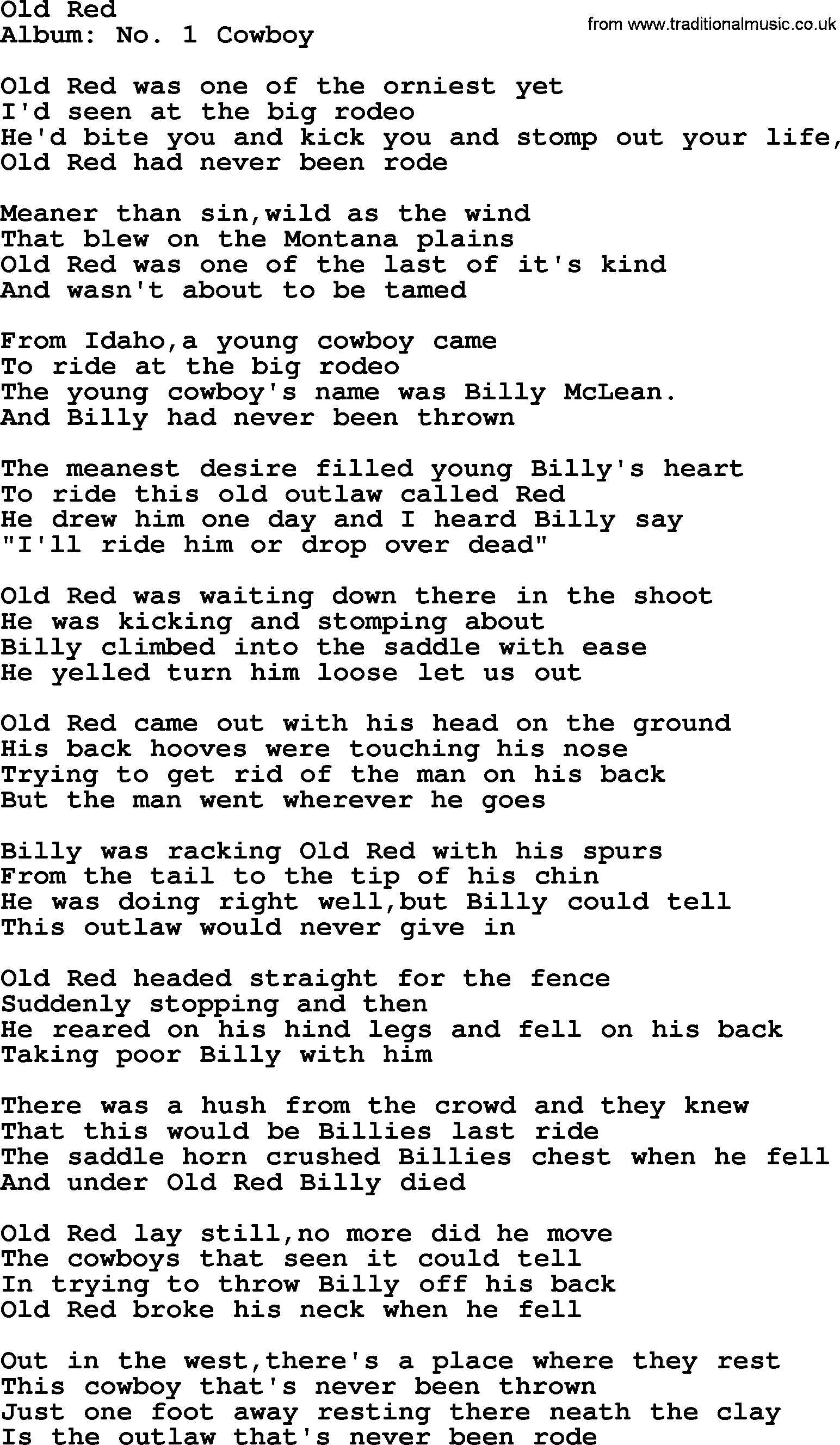 Old Red, by Marty Robbins   lyrics