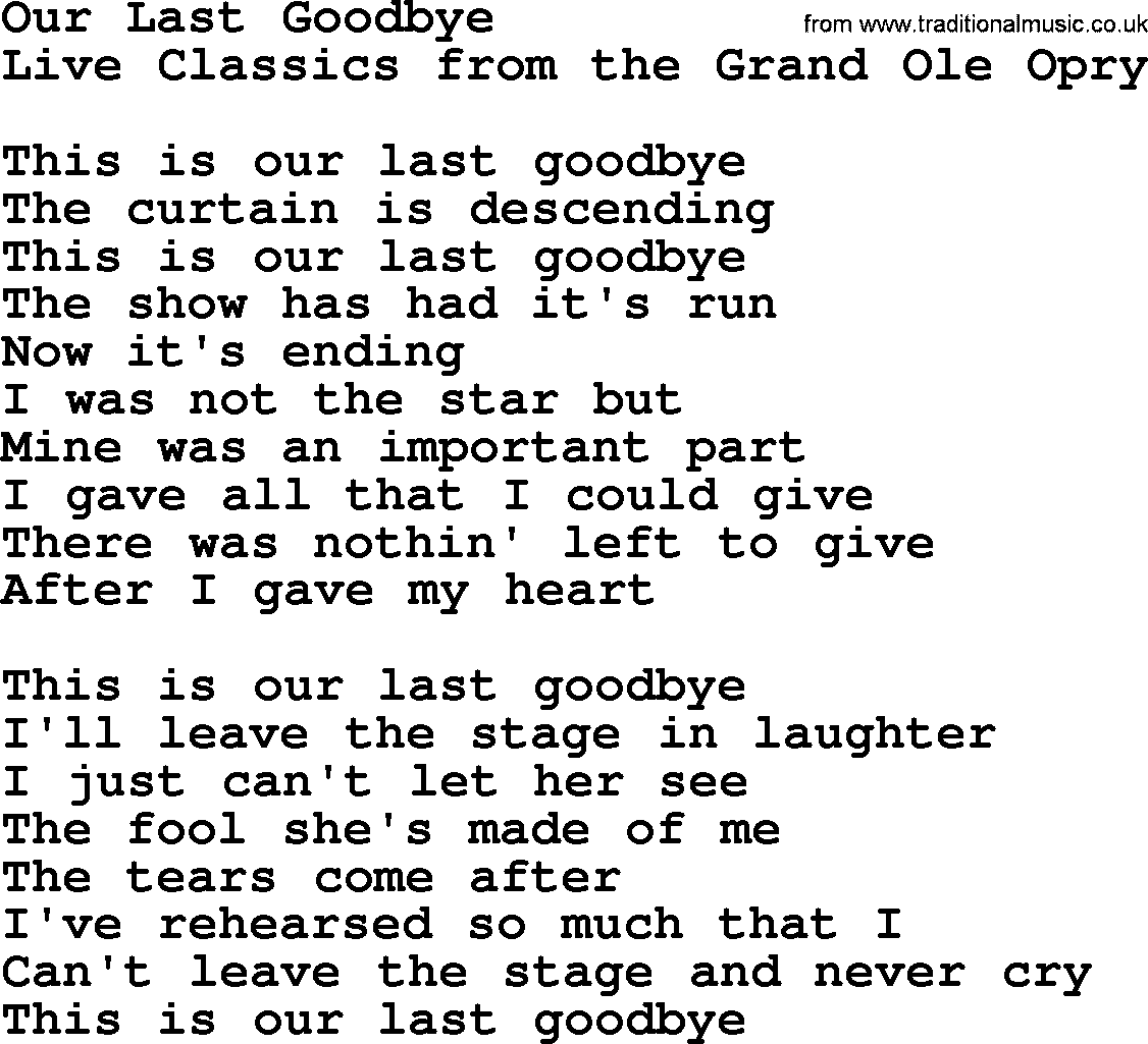 Our last goodbye by marty robbins lyrics marty robbins song our last goodbye lyrics hexwebz Image collections