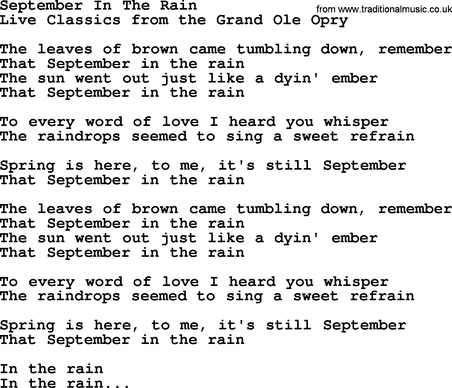 September in the rain by marty robbins lyrics marty robbins song september in the rain lyrics hexwebz Image collections