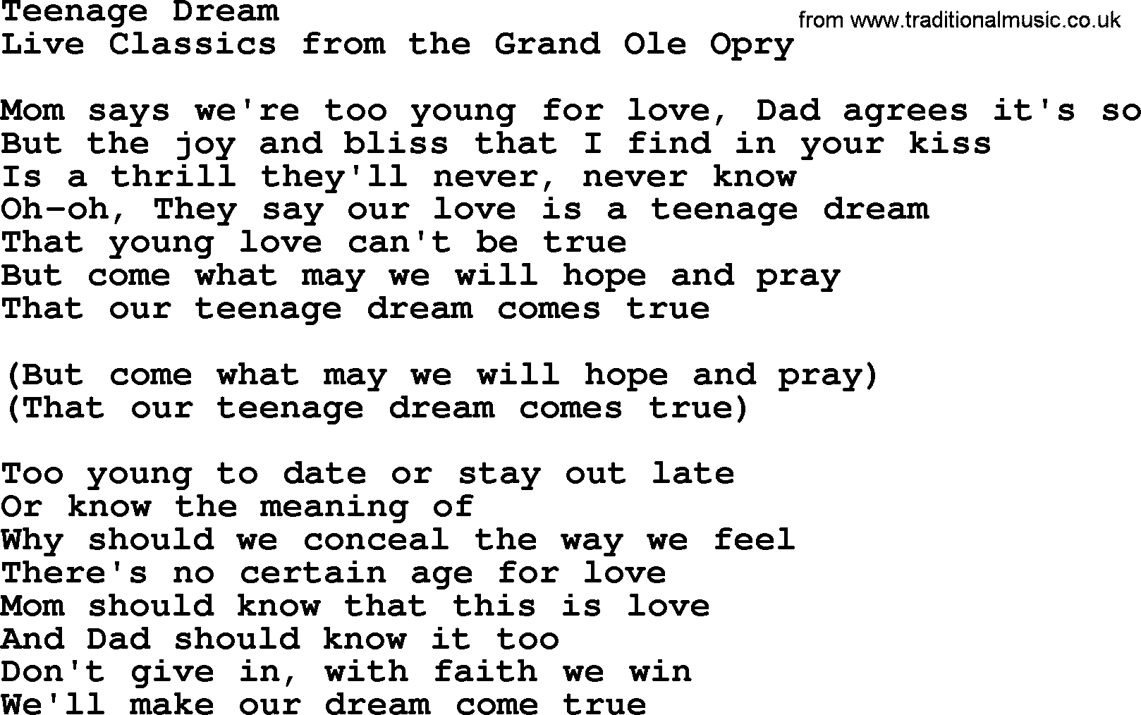 Teenage Dream By Marty Robbins Lyrics
