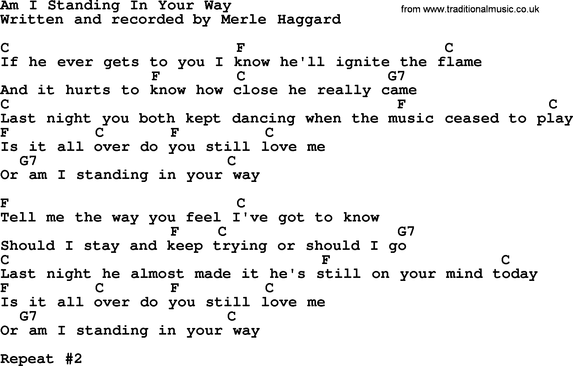 Am I Standing In Your Way by Merle Haggard - lyrics and chords