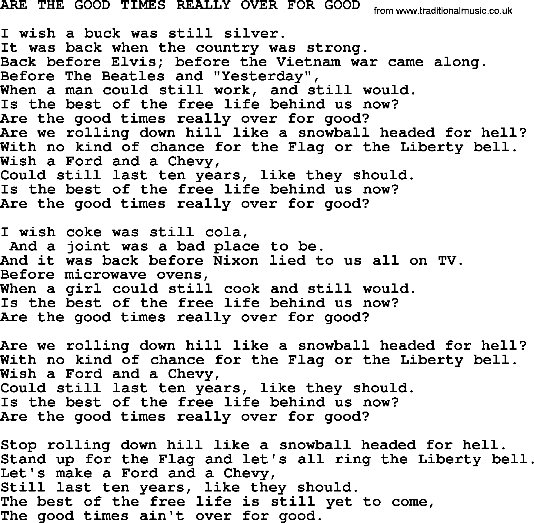 Are The Good Times Really Over lyrics by Merle Haggard ...
