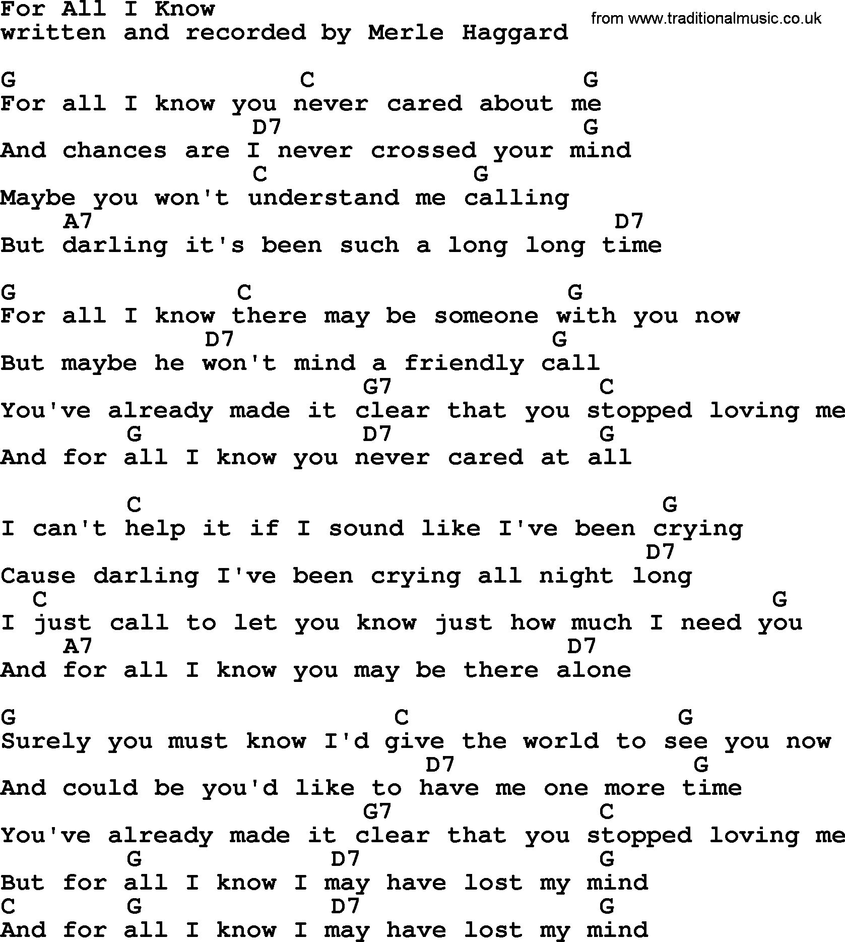 For All I Know by Merle Haggard   lyrics and chords
