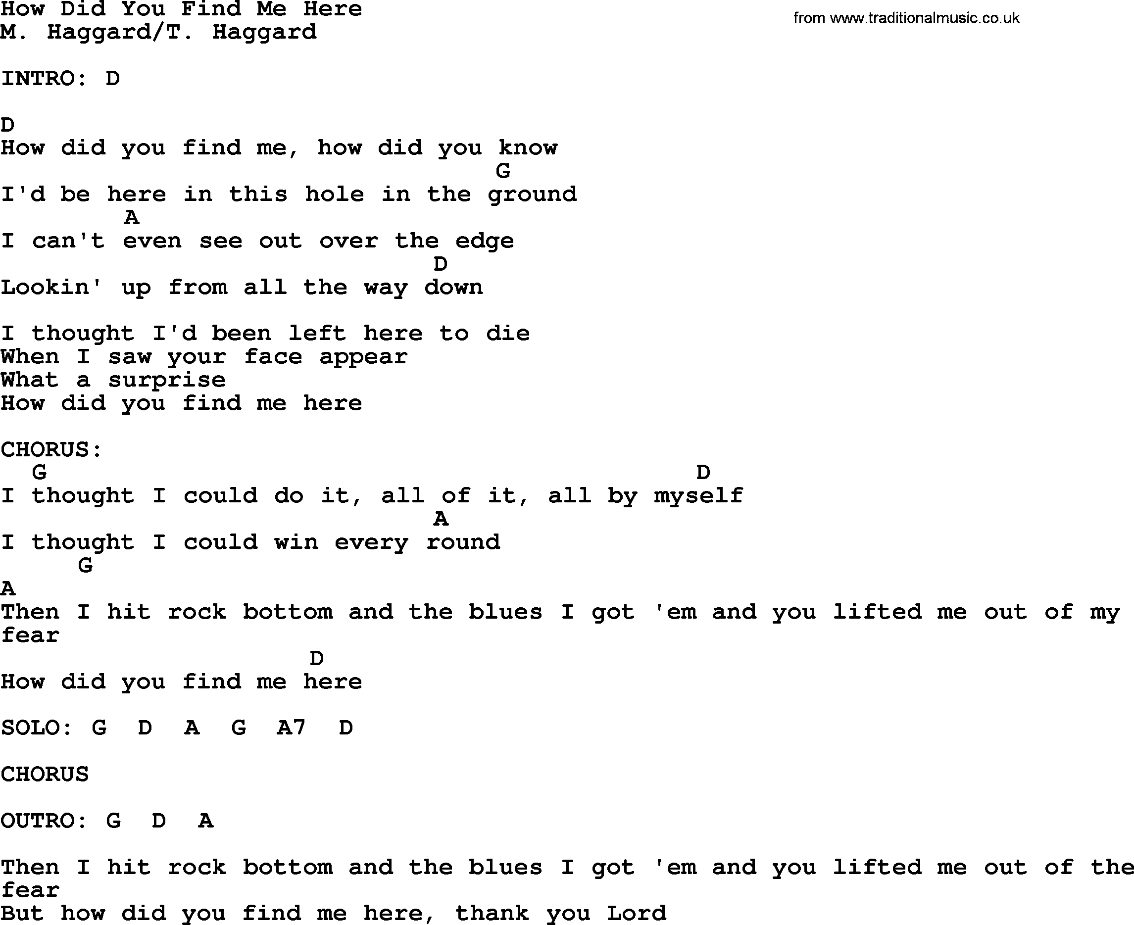 How Did You Find Me Here By Merle Haggard Lyrics And Chords