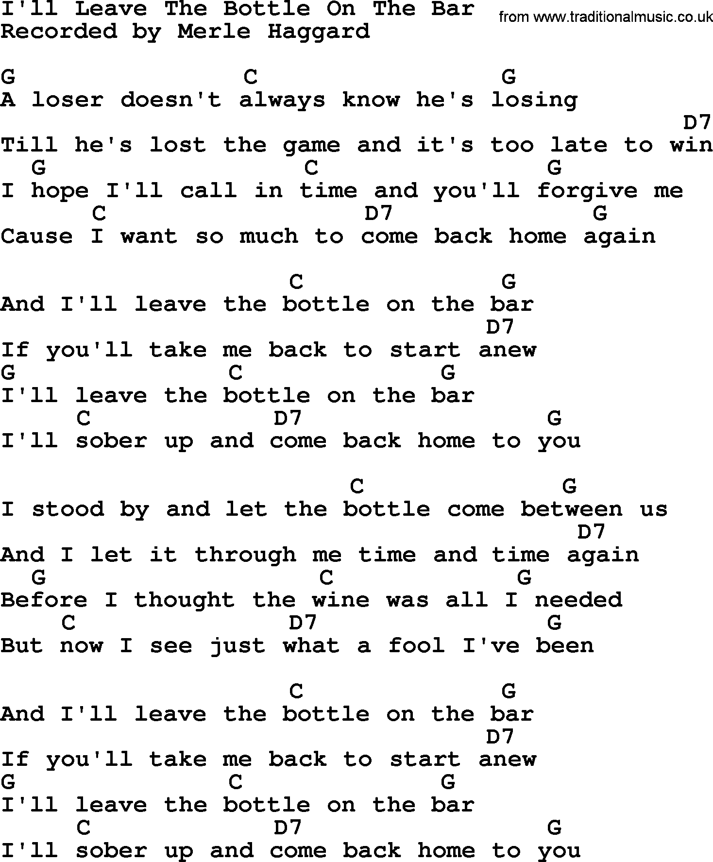 Ill Leave The Bottle On The Bar By Merle Haggard Lyrics And Chords