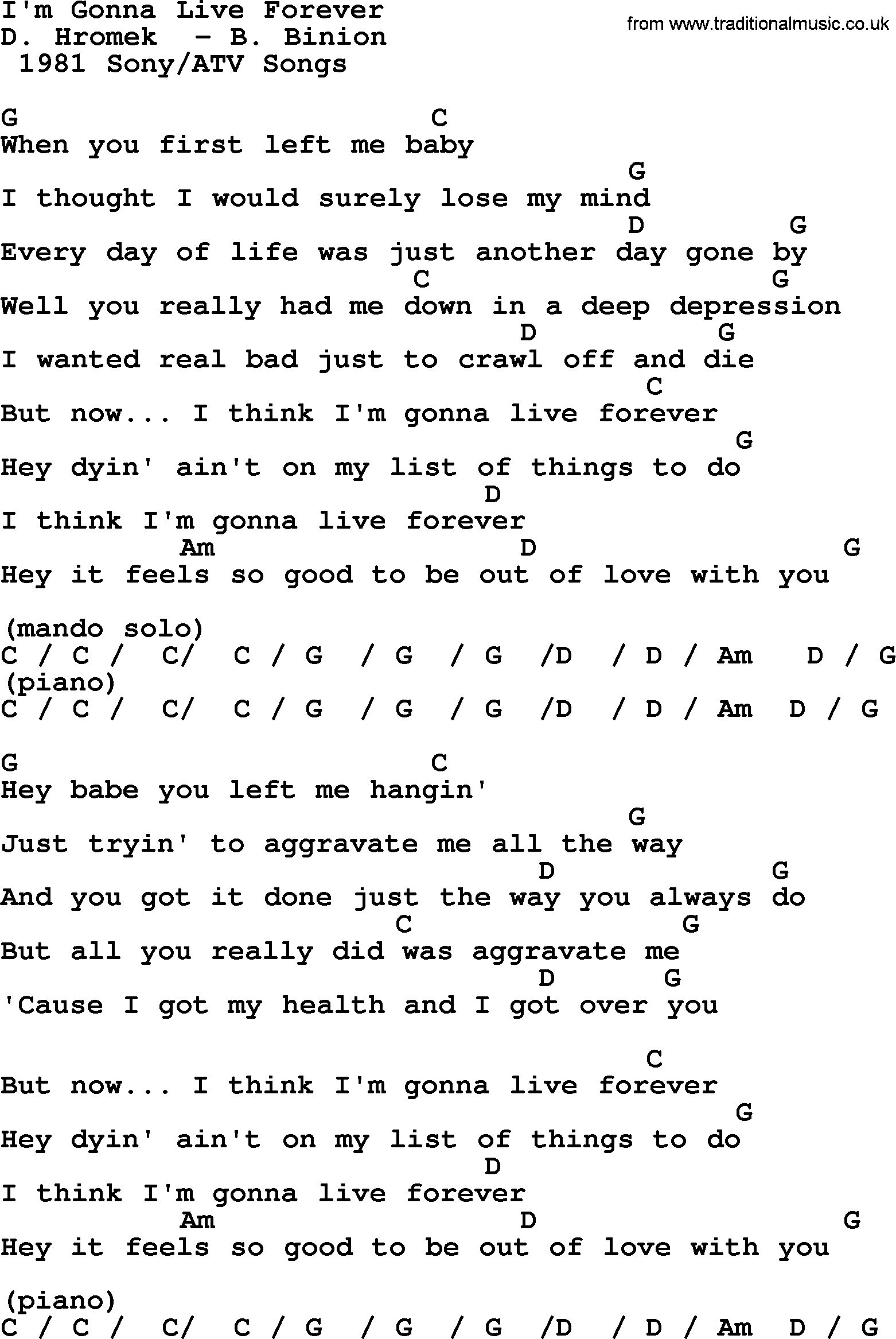 Im Gonna Live Forever By Merle Haggard Lyrics And Chords