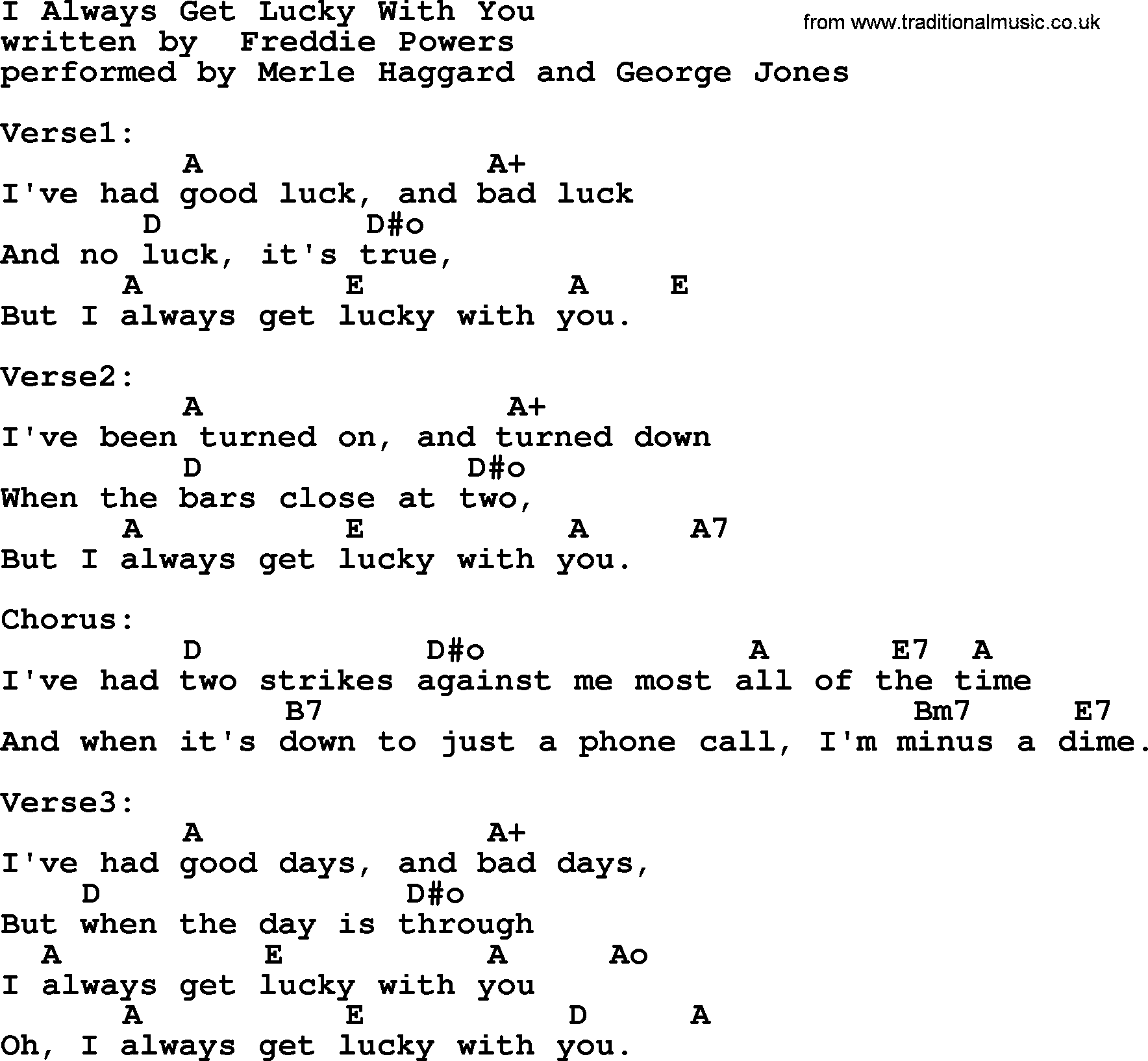 Uncategorized Get Lucky Lyrics i always get lucky with you by merle haggard lyrics and chords song chords