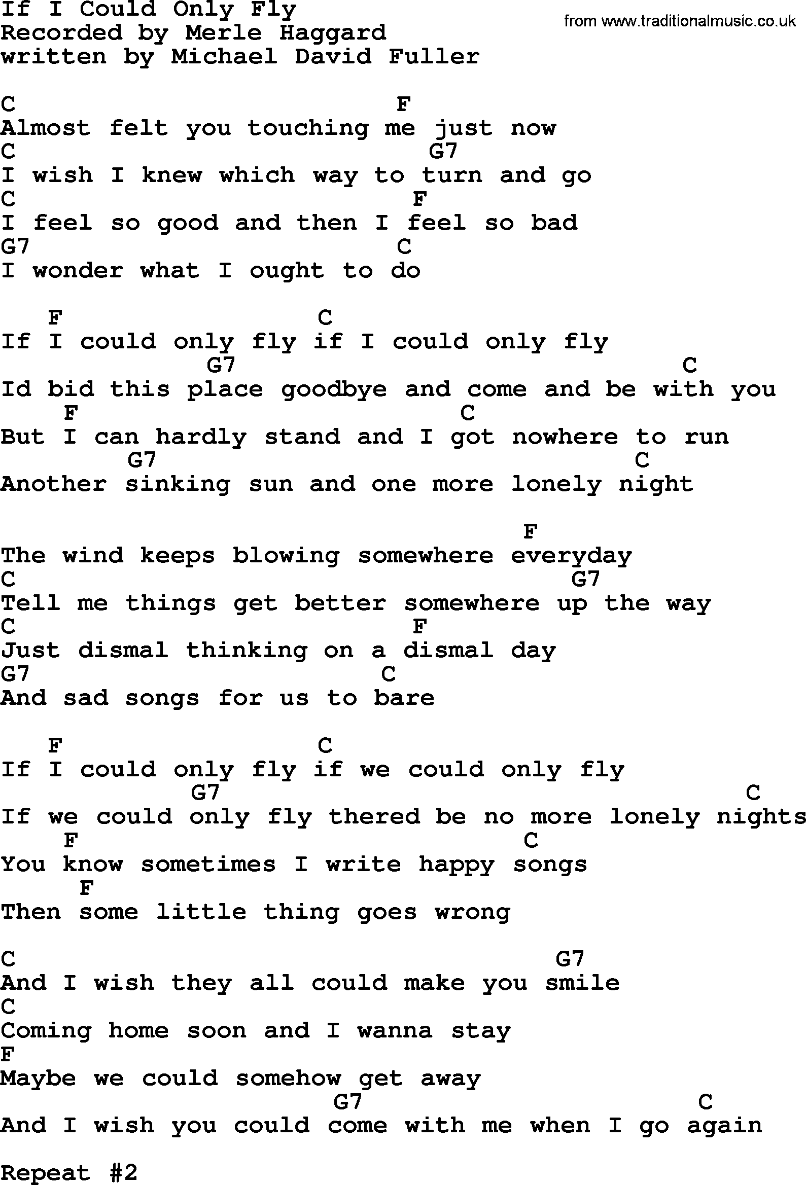 If I Could Only Fly By Merle Haggard Lyrics And Chords