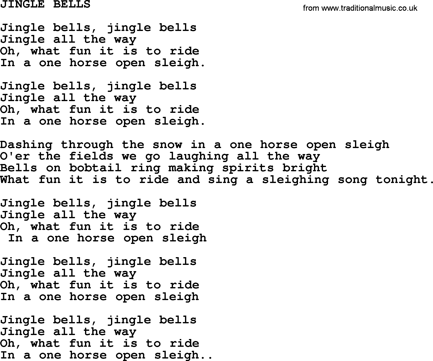 Jingle Bells Lyrics jingle bells by merle haggard - lyrics