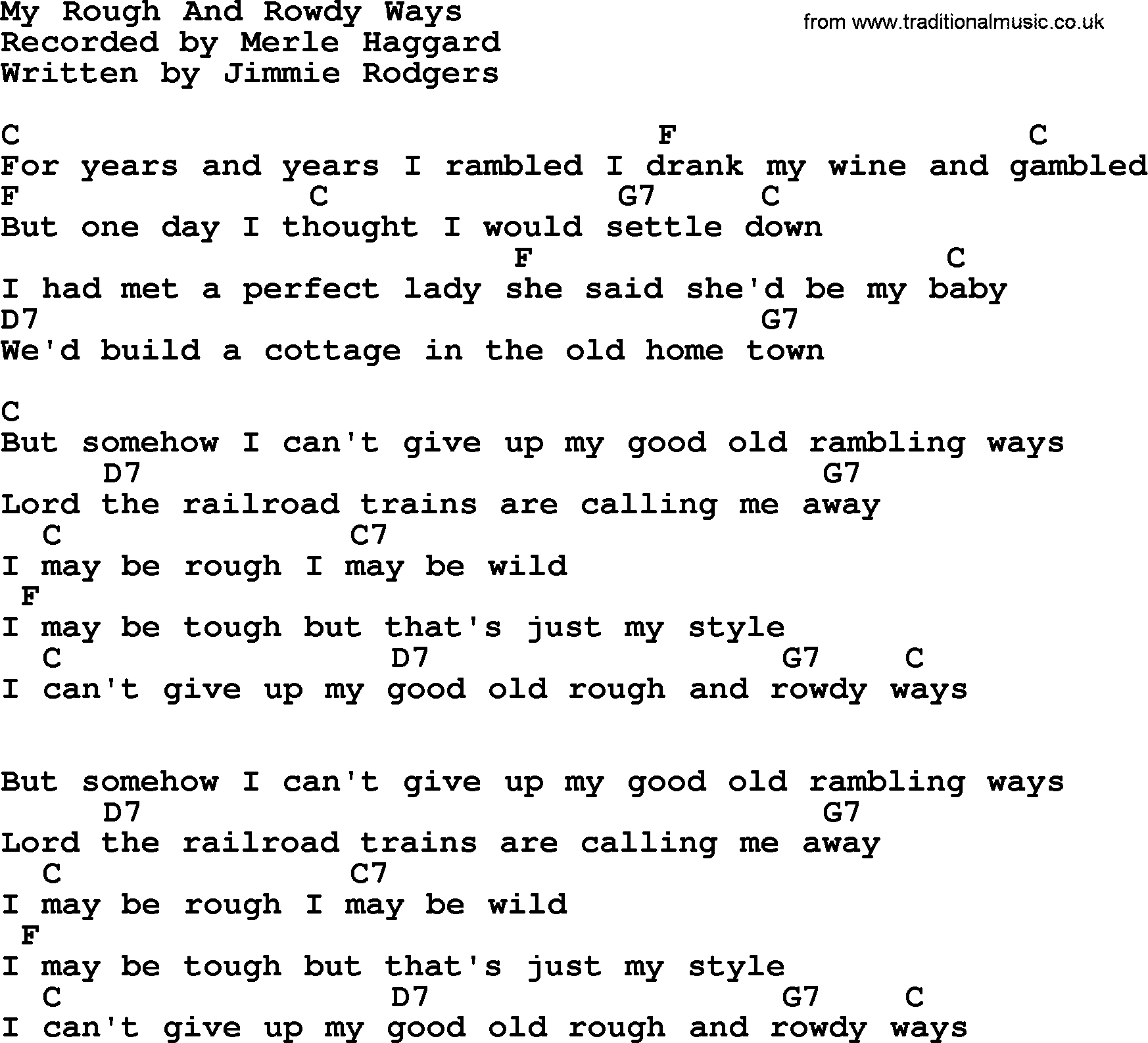 My rough and rowdy ways by merle haggard lyrics and chords merle haggard song my rough and rowdy ways lyrics and chords hexwebz Choice Image