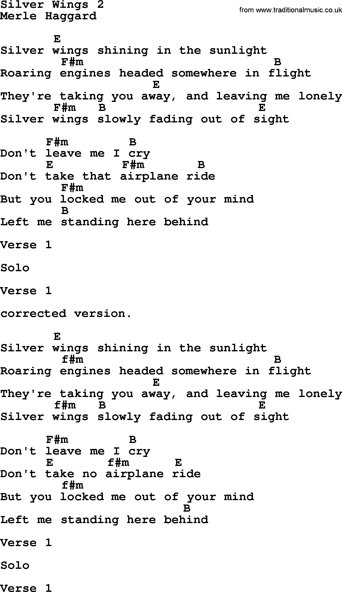 Silver Wings 15 by Merle Haggard   lyrics and chords