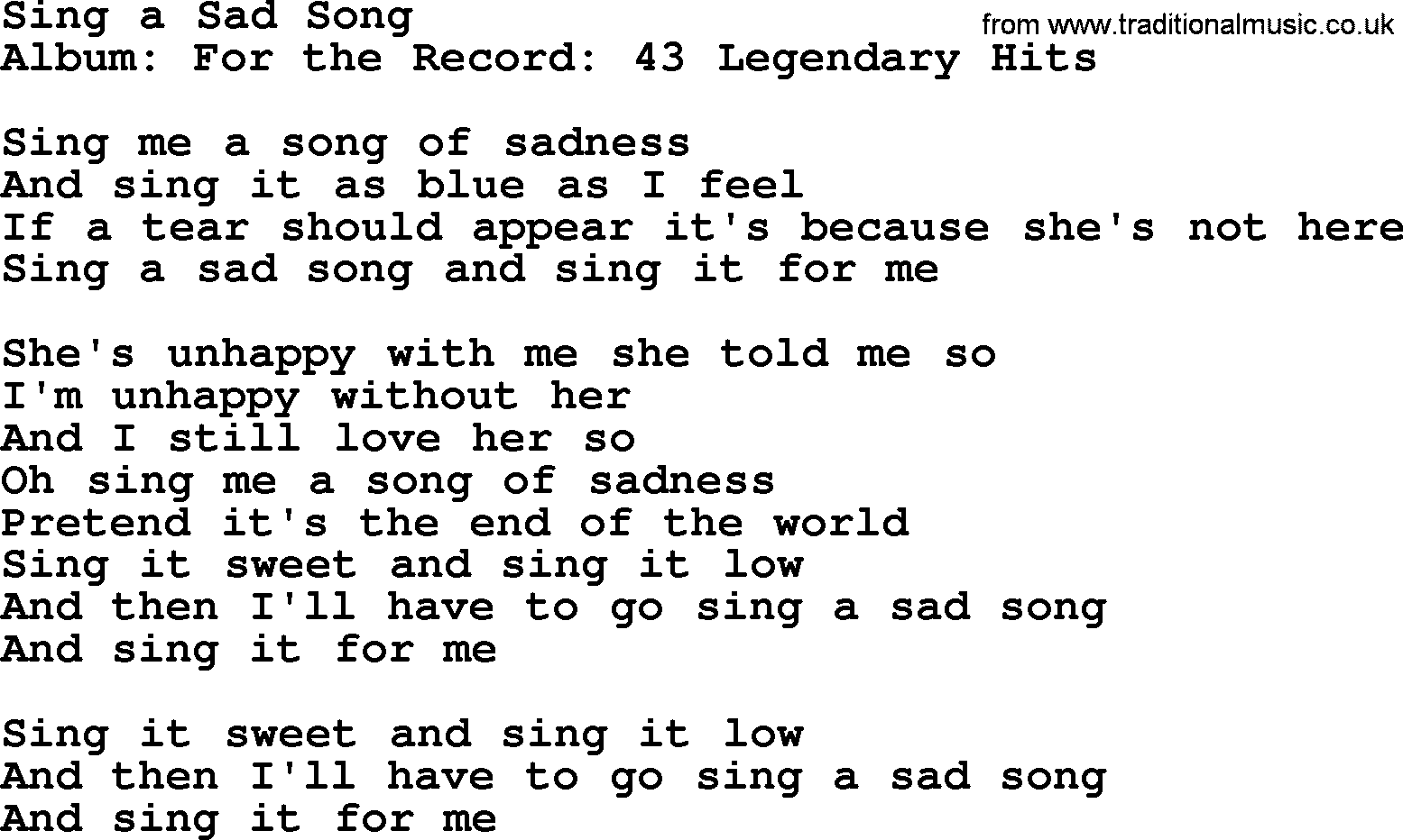 Sing A Sad Song by Merle Haggard - lyrics Sad Lyrics