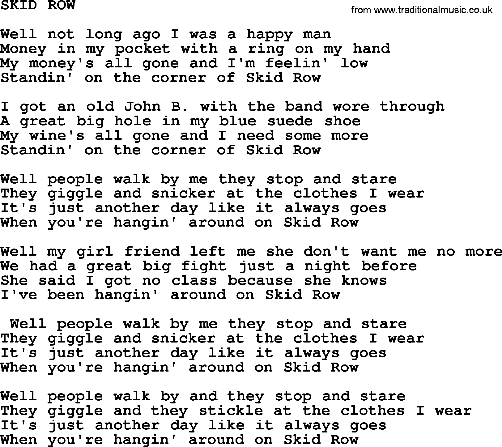 Skid row by merle haggard lyrics hexwebz Choice Image