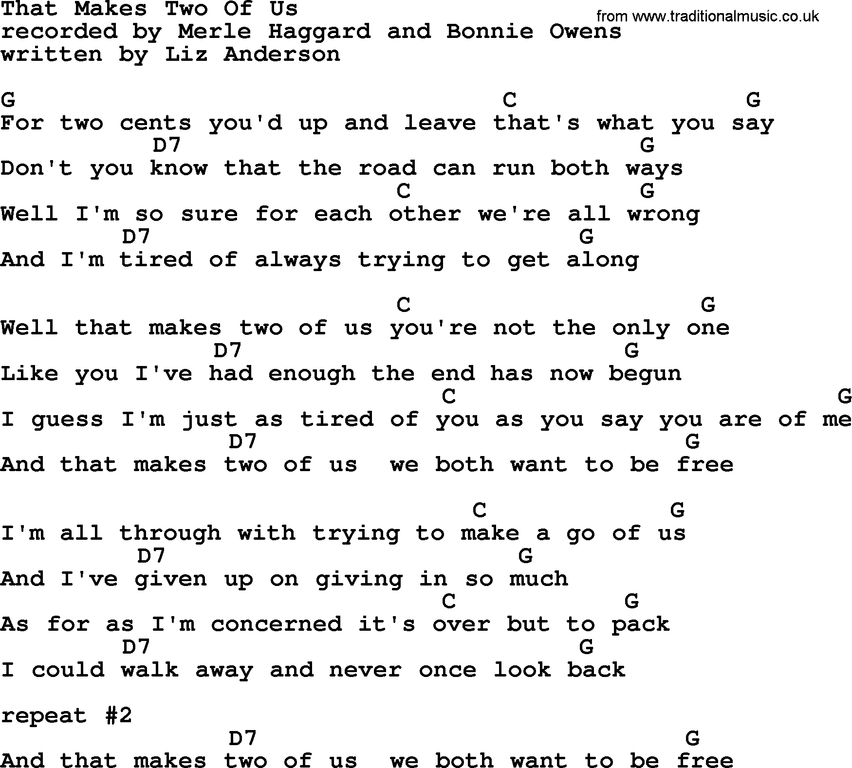 That Makes Two Of Us By Merle Haggard Lyrics And Chords