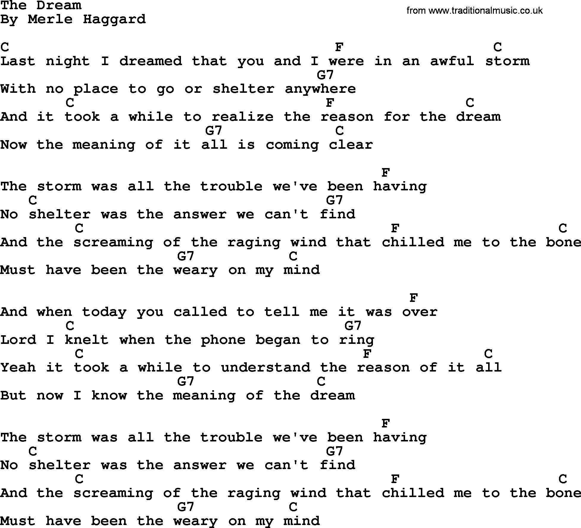 The Dream By Merle Haggard Lyrics And Chords