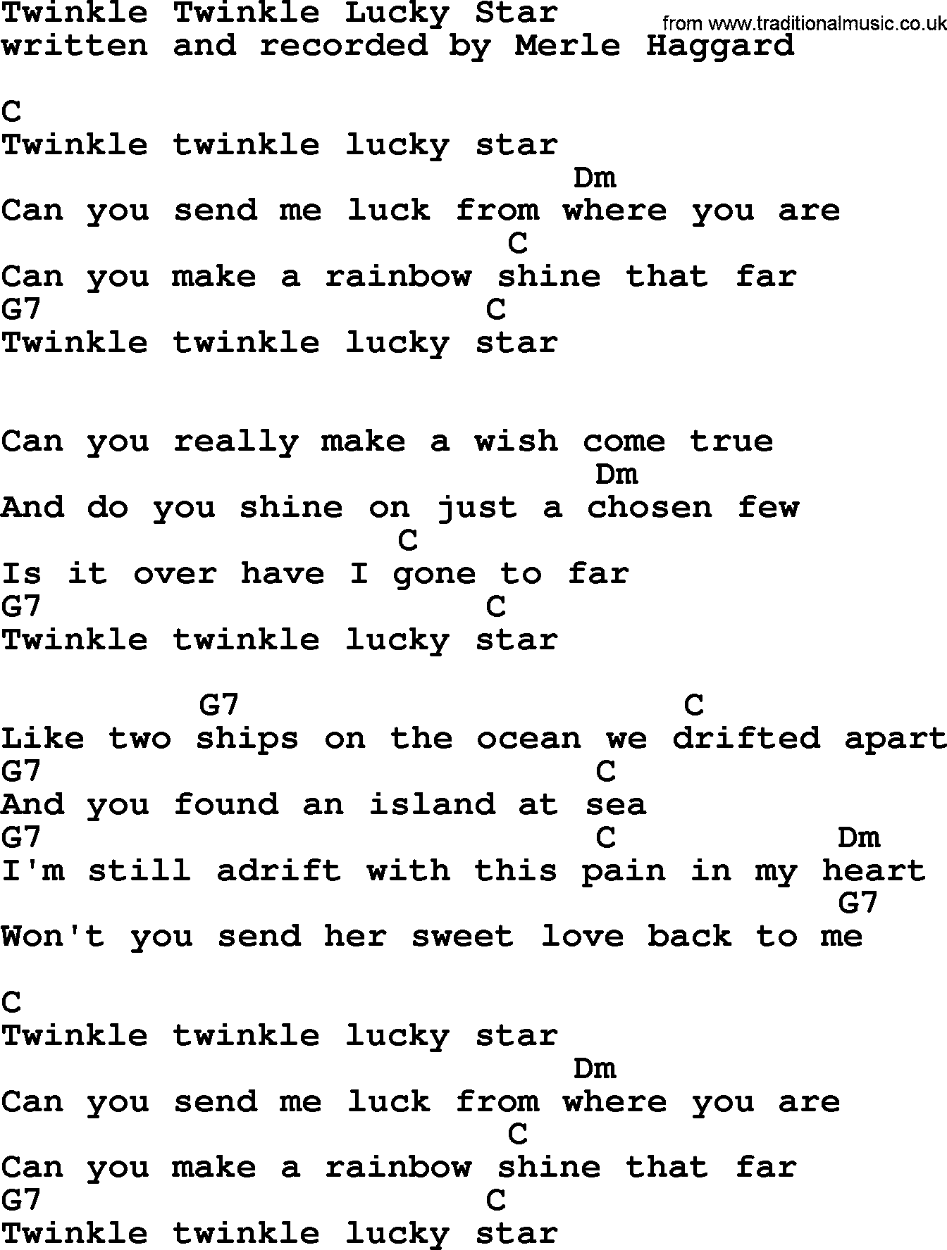 Twinkle Twinkle Lucky Star By Merle Haggard Lyrics And Chords
