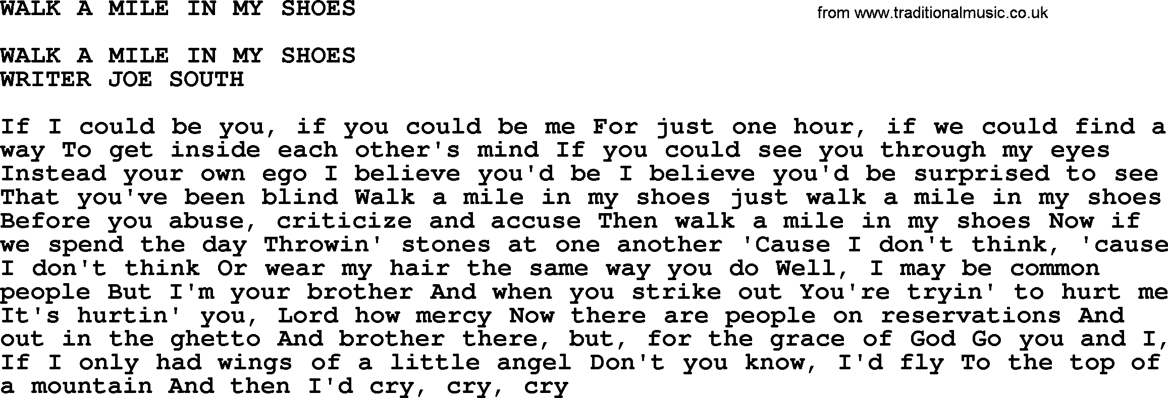 Walk A Mile In My Shoes Song