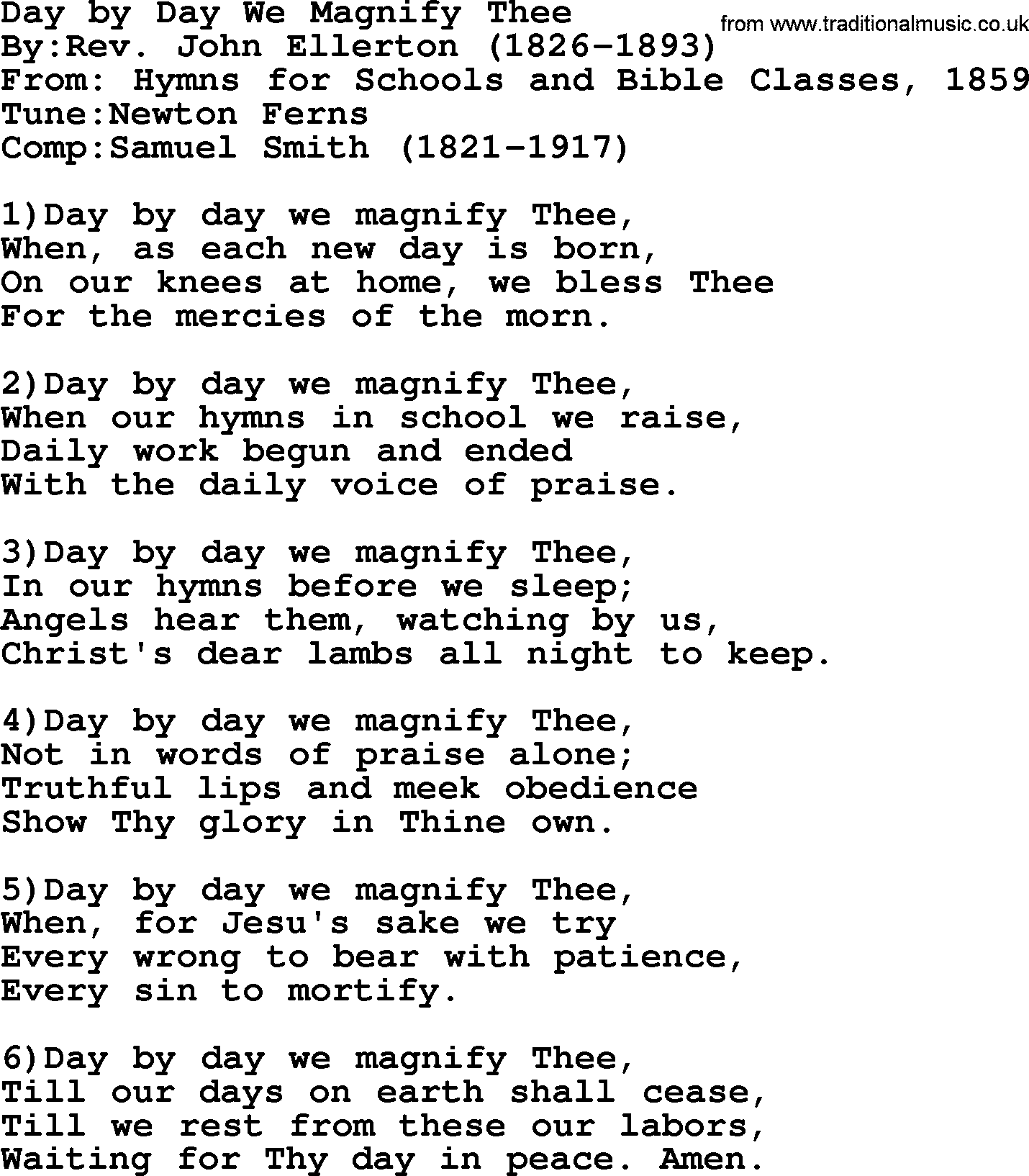 Methodist hymn day by day we magnify thee lyrics with pdf methodist hymn day by day we magnify thee lyrics hexwebz Image collections
